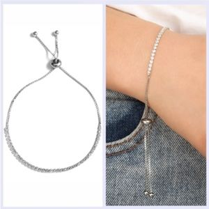 Jewelry - Square Crystal Silver Toggle Tennis Bracelet